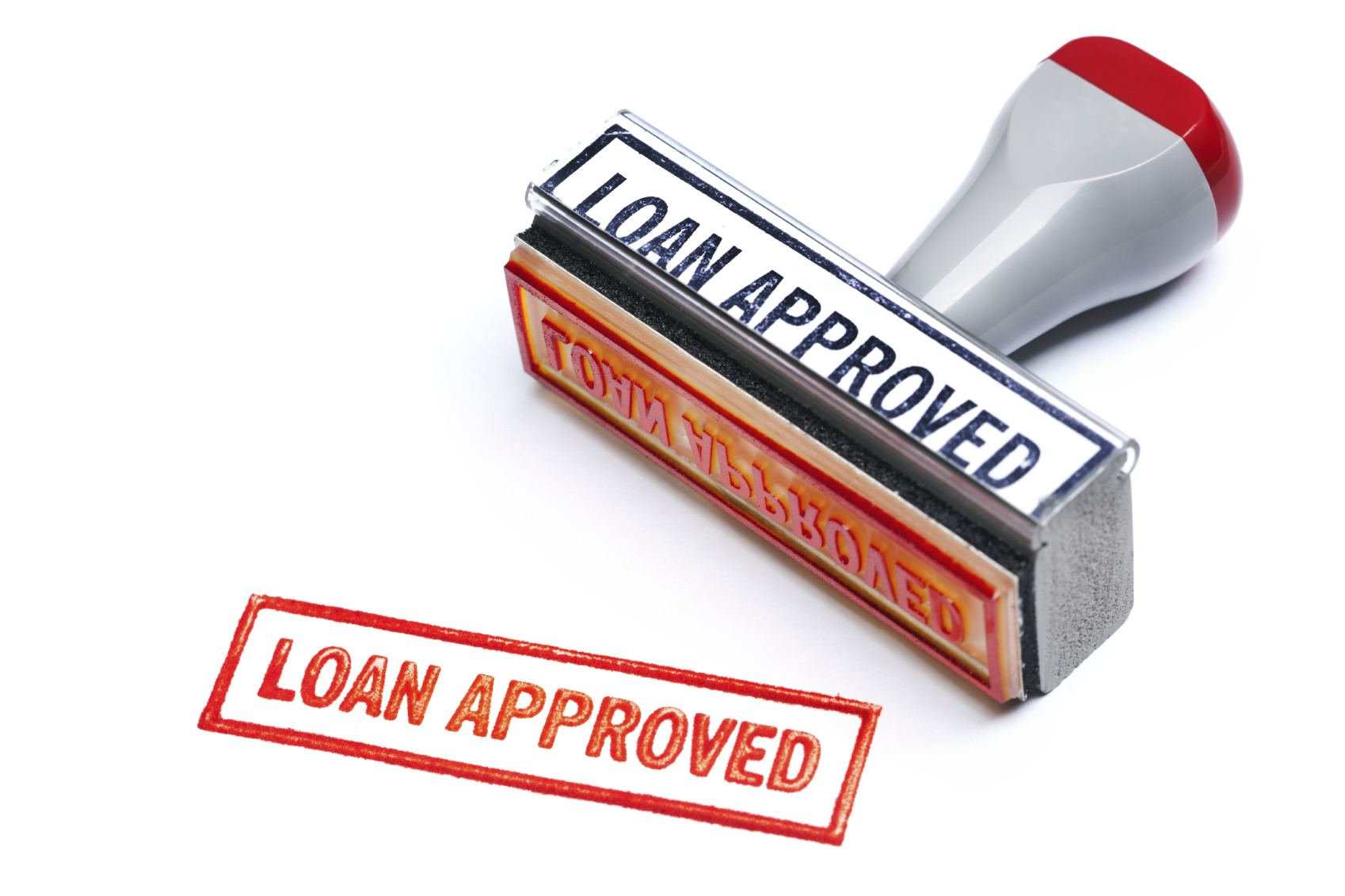 """Loan approved"" in red stamp"