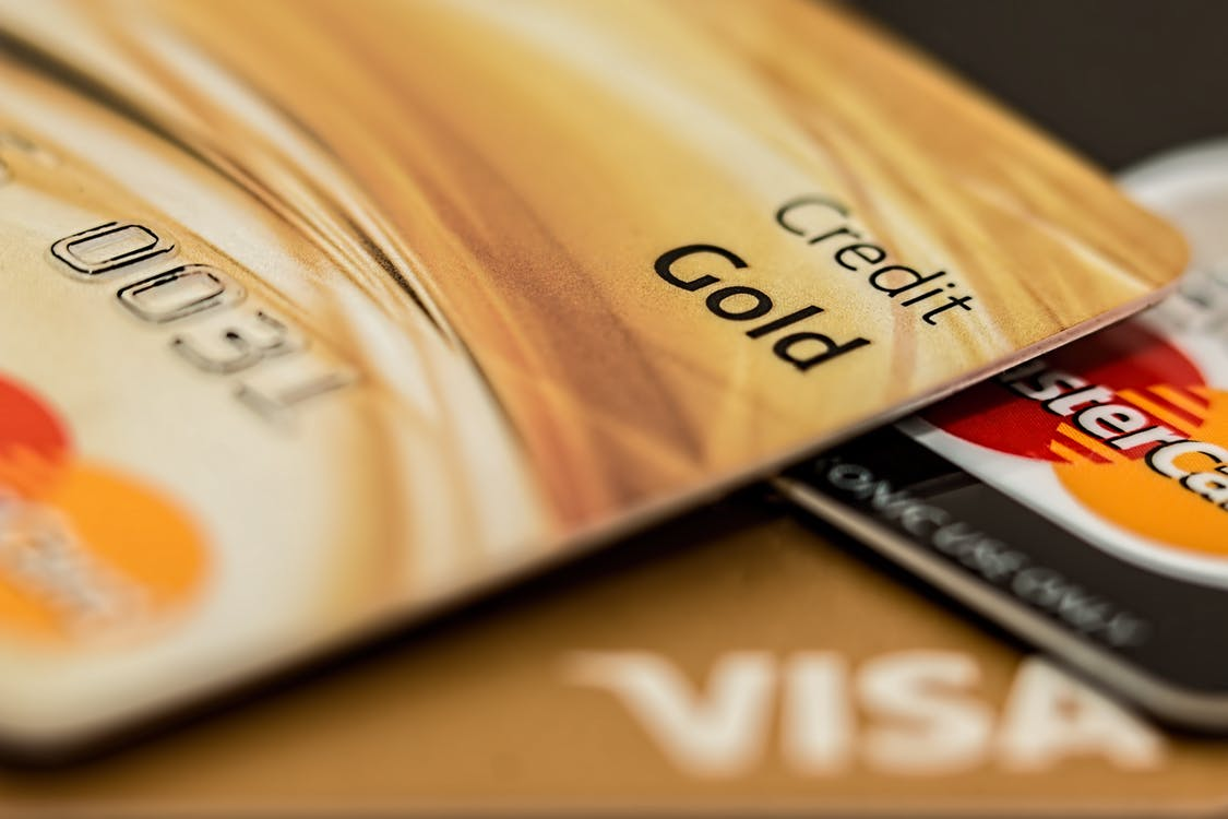 Close up photo of MasterCard debit cards